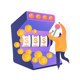 Счастливый человек выиграл джекпот в казино. счастливый игрок получает денежный приз. рискованное развлечение. игровой автомат, однорукий бандит, пристрастие к азартным играм.