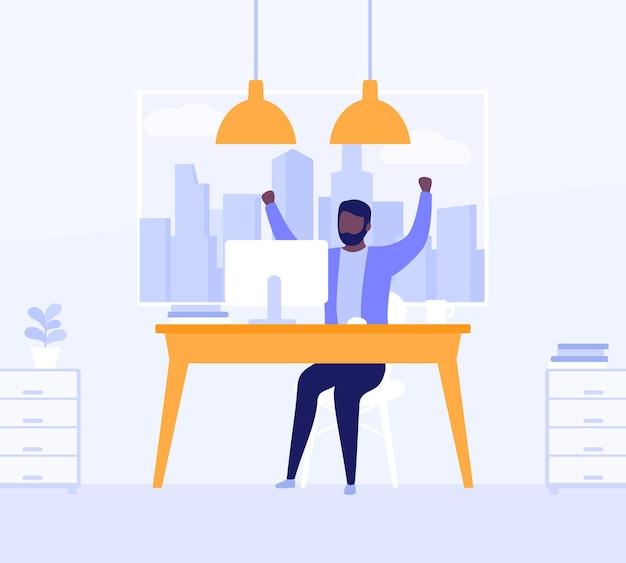 Счастливый человек, работающий в открытом офисе, векторные иллюстрации