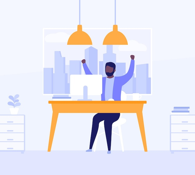 Happy man working in open office space, vector illustration