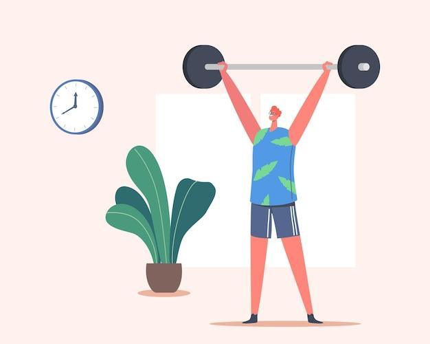 바벨과 함께하는 행복한 남자 운동. 스포츠맨 파워 리프터 남성 캐릭터 무게, 보디 빌딩으로 운동하는 스포츠웨어