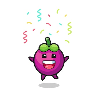 Счастливый талисман мангустина прыгает для поздравления с цветным конфетти, милый стиль дизайна для футболки, наклейки, элемента логотипа
