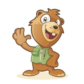 Happy marmot cartoon character