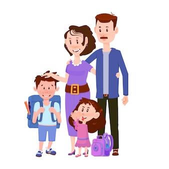 子供男の子と女の子のフラットなキャラクターと幸せな夫婦。