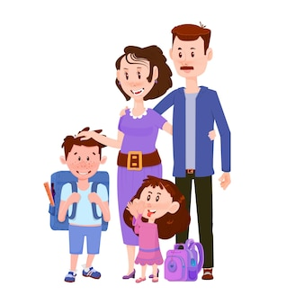 Happy married couple with children boy and girl  flat characters.