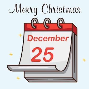 Happy marry christmas days calendar design