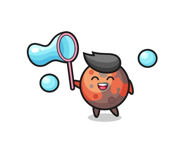 Happy mars cartoon playing soap bubble , cute style design for t shirt, sticker, logo element