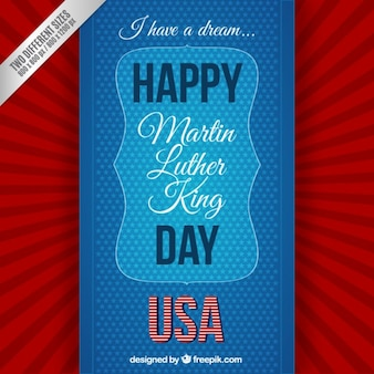 Happy martin luther king day background in red and blue color