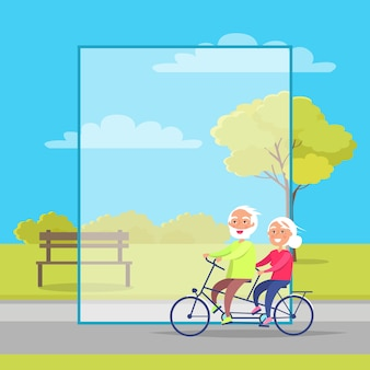 Happy mature couple riding together on bike