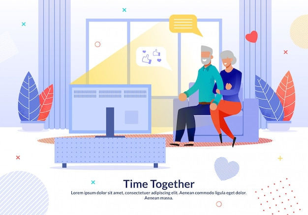 Happy mature couple spend time together at home