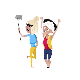 Happy mature women doing selfie character.