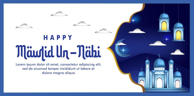 Happy maulid an nabi with a mosque background