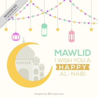 Happy mawlid background with moon and lanterns Premium Vector