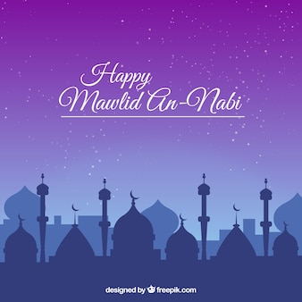 Happy mawlid mosque background