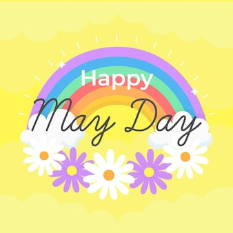 Happy may day background with flowers and rainbow