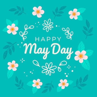 Happy may day wallpaper with flowers and leaves