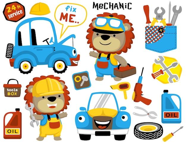 Happy mechanic cartoon with set of mechanic tools, cars, mechanic equipments