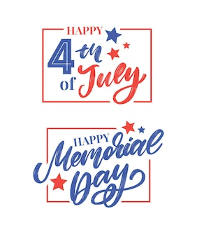 Happy memorial day 4th of july - stars and stripes letter