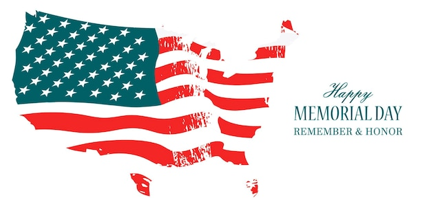 Happy memorial day. the american flag waving in the wind. remember and honor.
