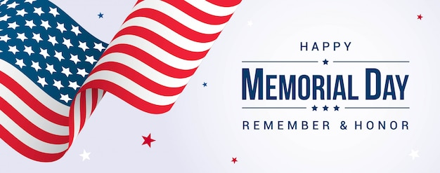 Happy memorial day banner with usa flag waving