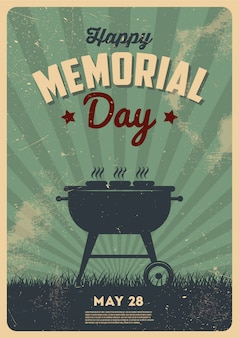 Happy memorial day, barbecue party sign. bbq party invitation. vintage typography illustration