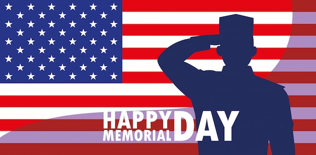 Happy memorial day card with flag usa and silhouette of military