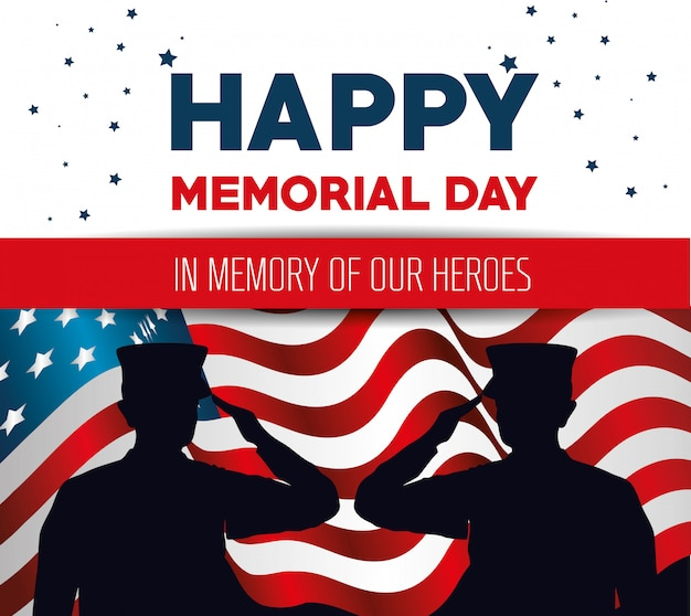Happy memorial day card with soldier silhuette