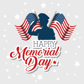 Happy memorial day celebration card with soldier silhouette