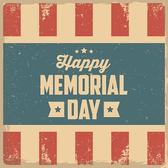 Happy memorial day. greeting card with usa flag on background.