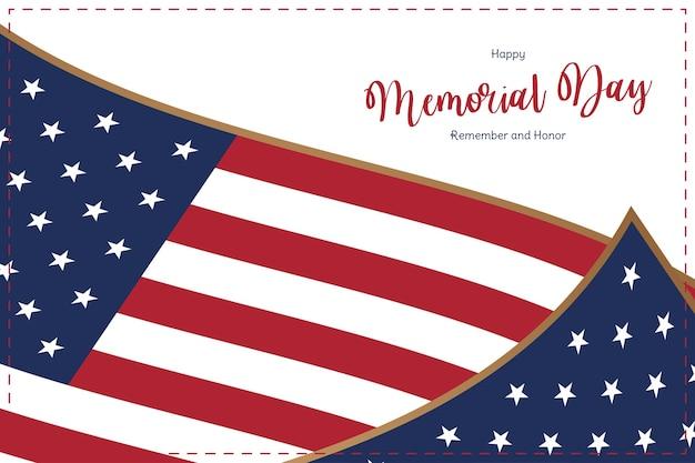 ハッピーメモリアルデー。白の米国旗のグリーティング カード。