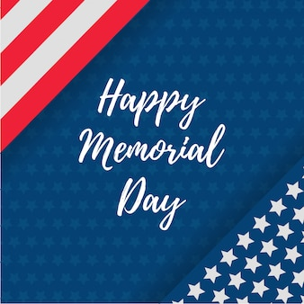 Happy memorial day greeting card with usa flag