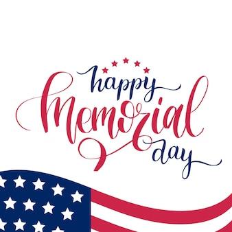 Рукописная фраза с днем памяти. иллюстрация национального американского праздника с флагом сша.