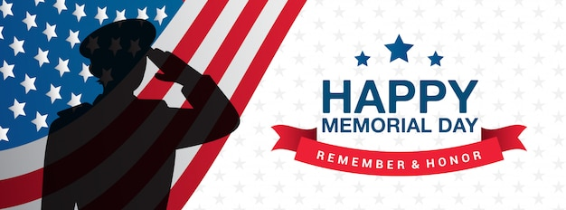 Happy memorial day - remember and honor banner  illustration