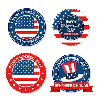 Happy memorial day set seals