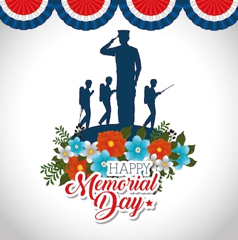 Happy memorial day with beautiful flowers and soldier silhouette