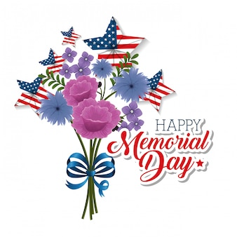 Happy memorial day with beautiful flowers and usa flags