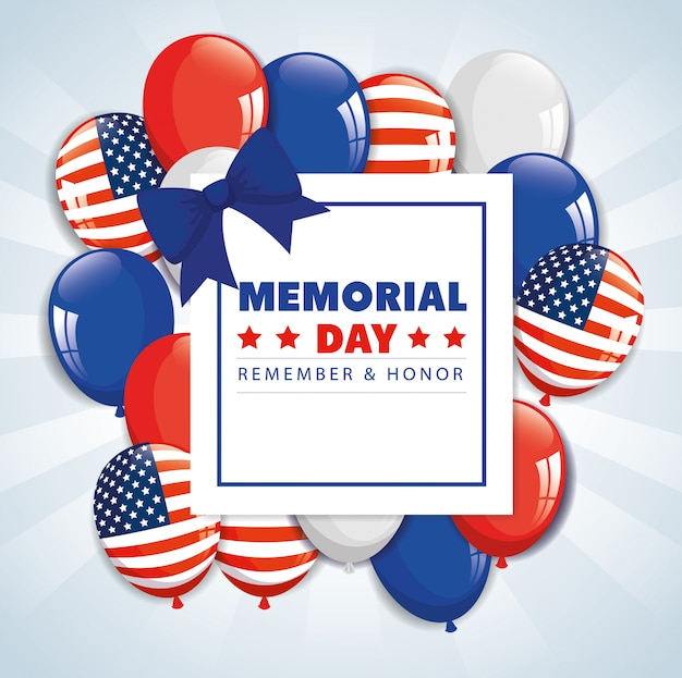Happy memorial day with decoration of balloons helium