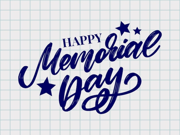 Happy memorial day  with stars and stripes letter
