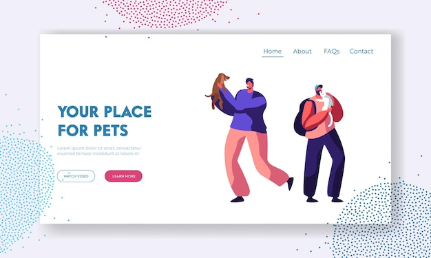 Happy men having leisure time and fun with dogs, playing with puppy. spend time with domestic animals, care, lifestyle, leisure website landing page, web page. cartoon flat vector illustration