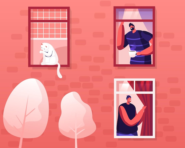 Happy men neighbors peeking out of windows with curtains greeting each other drinking coffee at morning, cartoon flat illustration