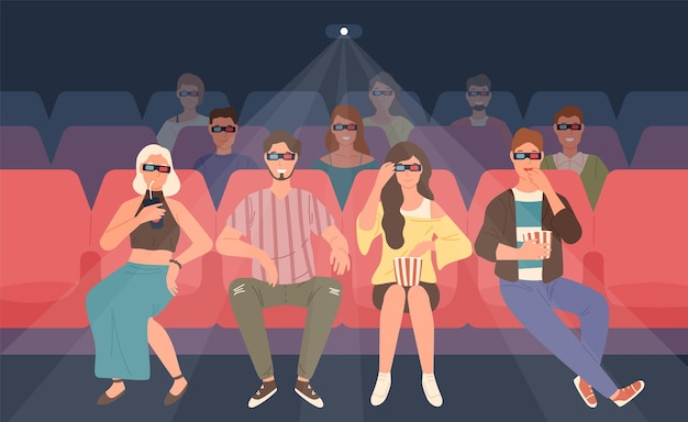 Happy men and women sitting in chairs at three-dimensional movie theater. colorful  illustration in flat cartoon style.