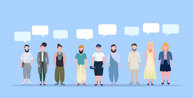 Happy men women standing together chat bubble communication casual people wearing trendy clothes male female cartoon characters full length blue background horizontal