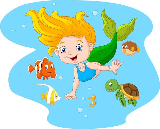 Happy mermaid with sea animal on sea water background
