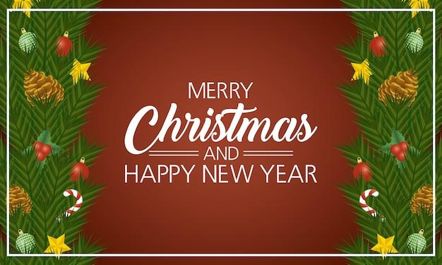 ハッピーメリークリスマスと新年のレタリングカードの葉とドライフルーツフレームベクトル