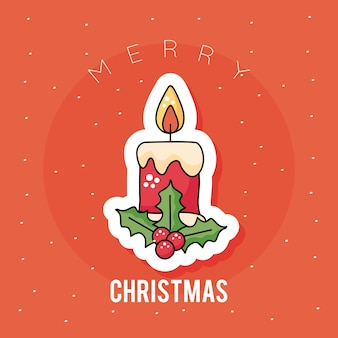 Happy merry christmas candle and leafs sticker icon illustration design