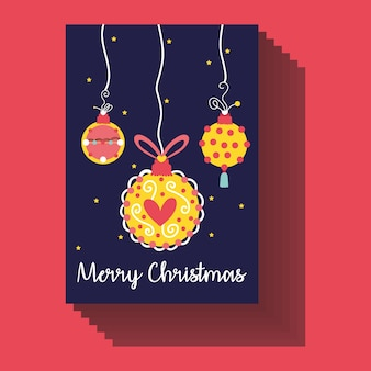 Happy merry christmas card with balls hanging vector illustration design Premium Vector