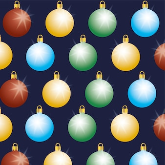 Happy merry christmas card with balls hanging