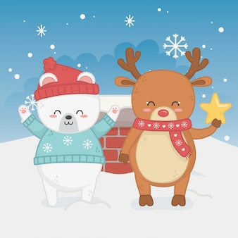 Happy merry christmas card with bear teddy and deer