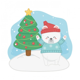 Happy merry christmas card with bear teddy and pine