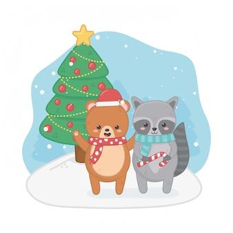 Happy merry christmas card with bear teddy and raccoon