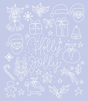 Happy merry christmas card with calligraphy font and set icons